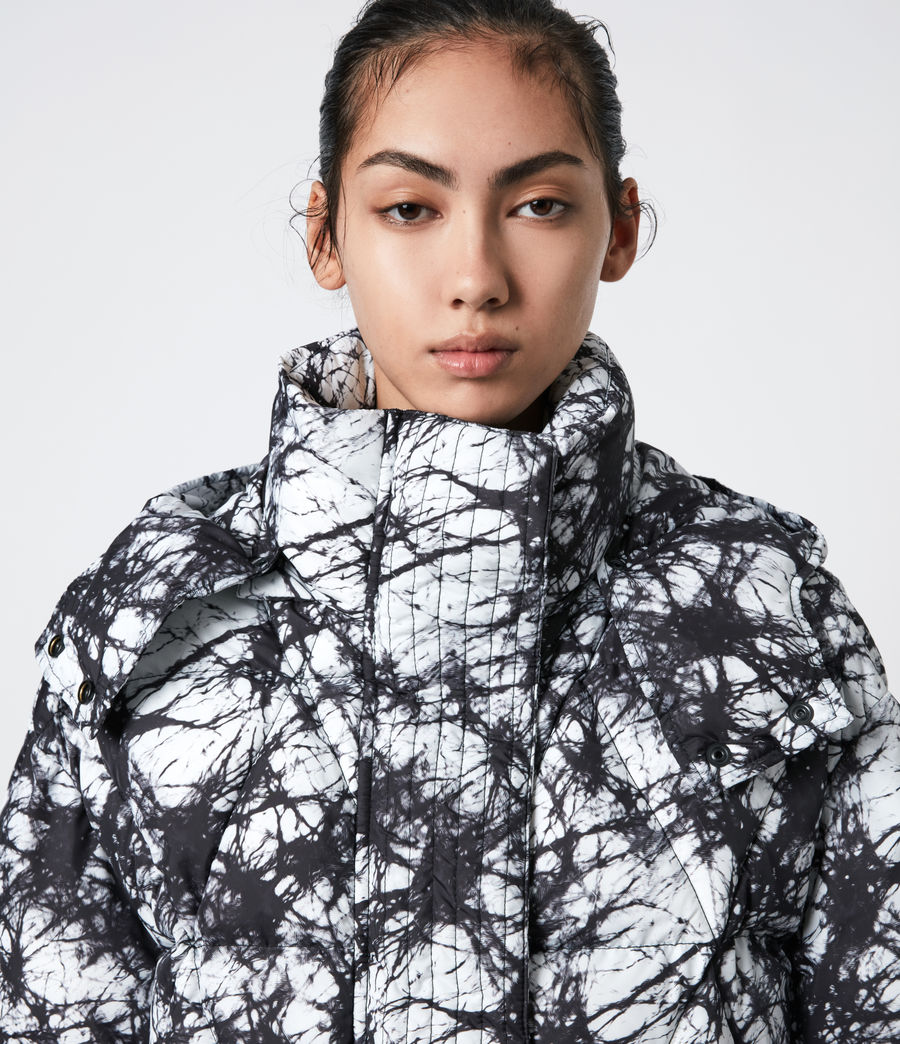 Womens Wren Tie Dye Puffer Coat (black_white) - Image 8