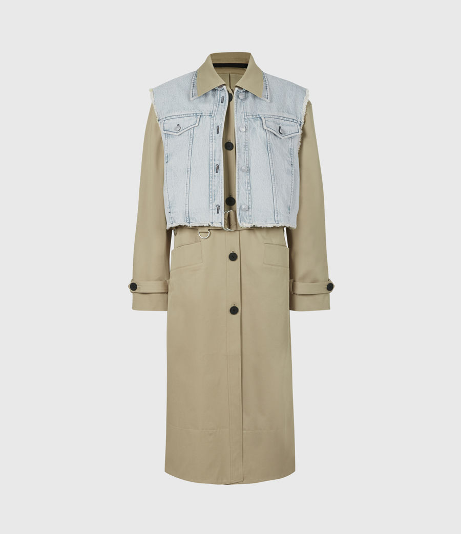 Women's Zadie 2-In-1 Trench Coat (beige_denim_blue) - Image 2