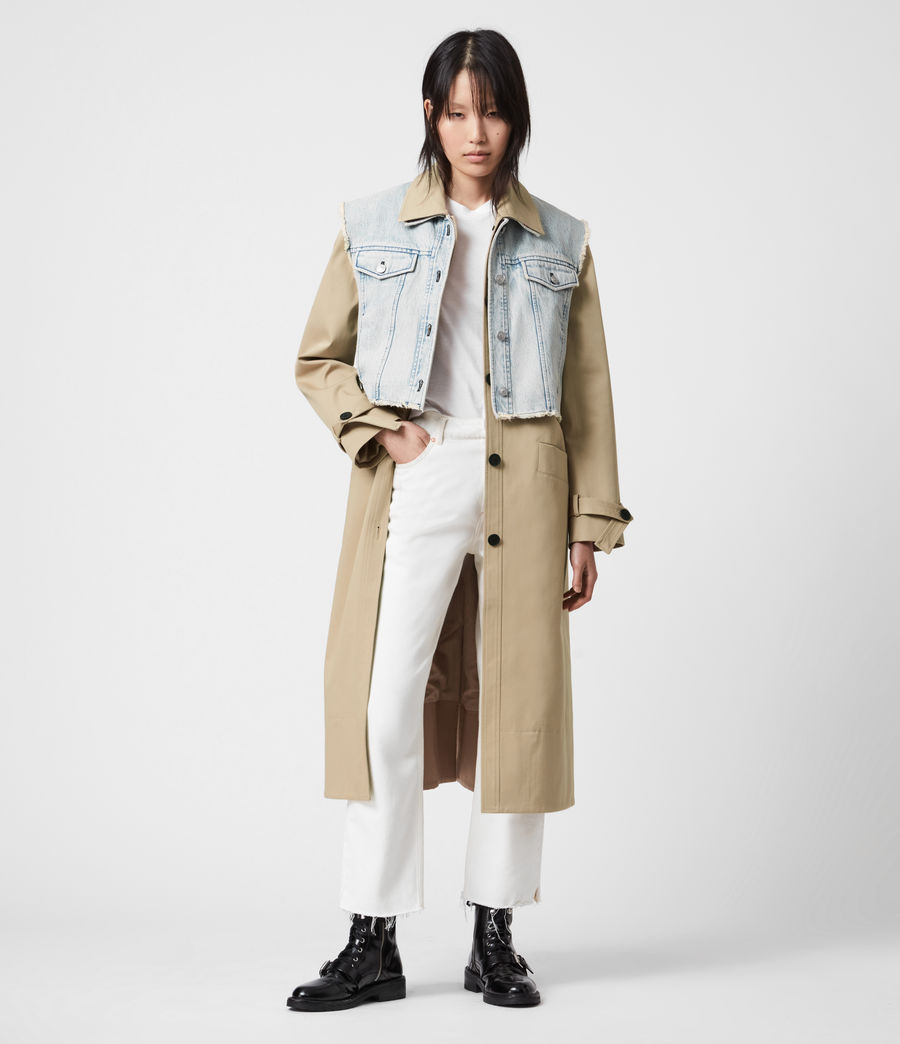 Women's Zadie 2-In-1 Trench Coat (beige_denim_blue) - Image 3