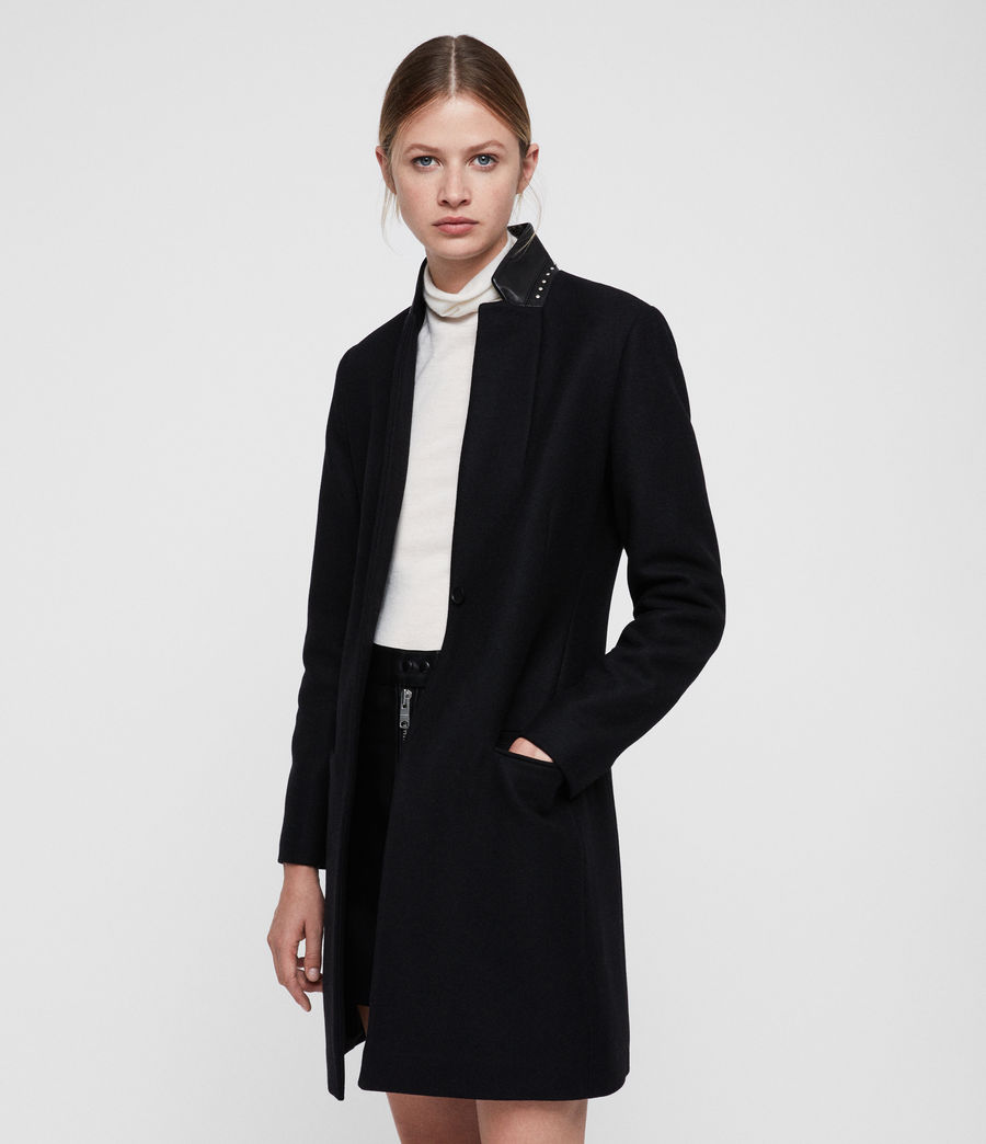 Womens Leni Stud Coat (black) - Image 1