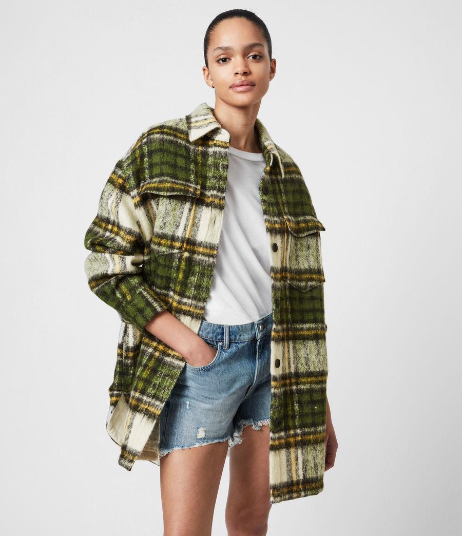 Women's Sophie Check Jacket (green_ecru_white) - Image 7