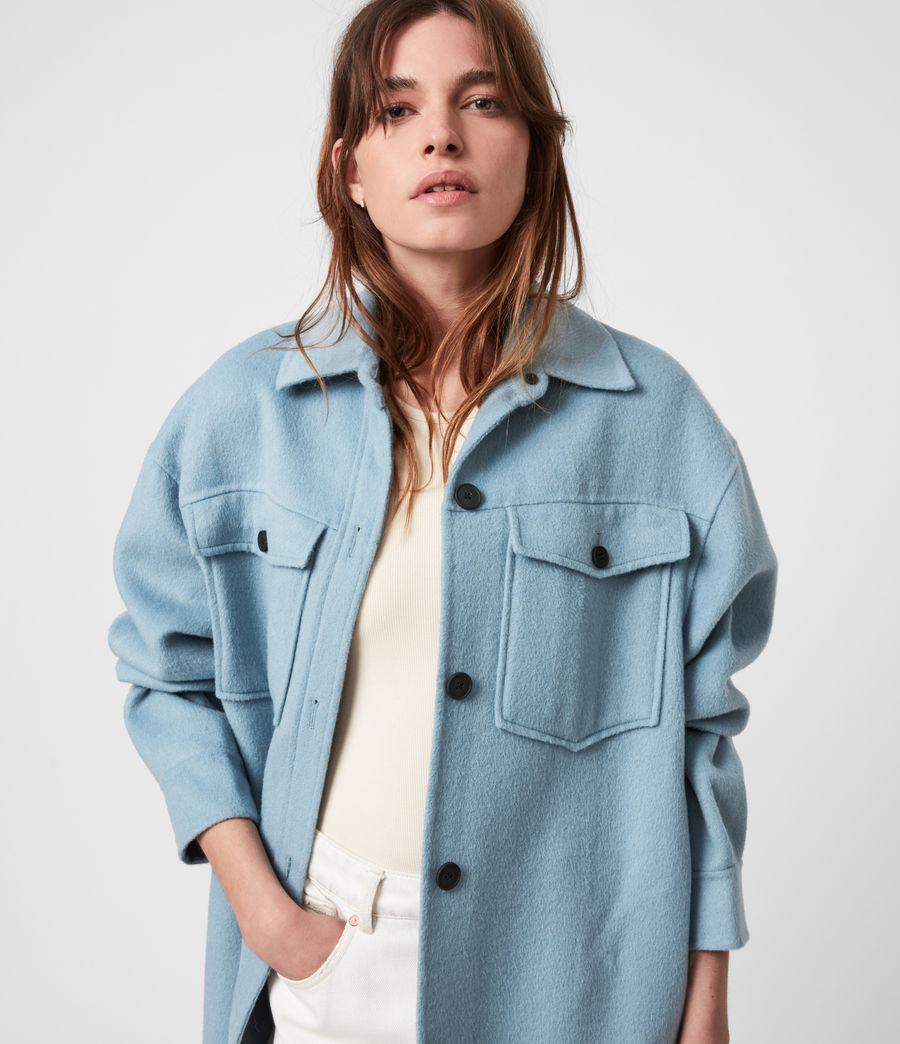 Women's Edith Coat (fern_blue) - Image 4