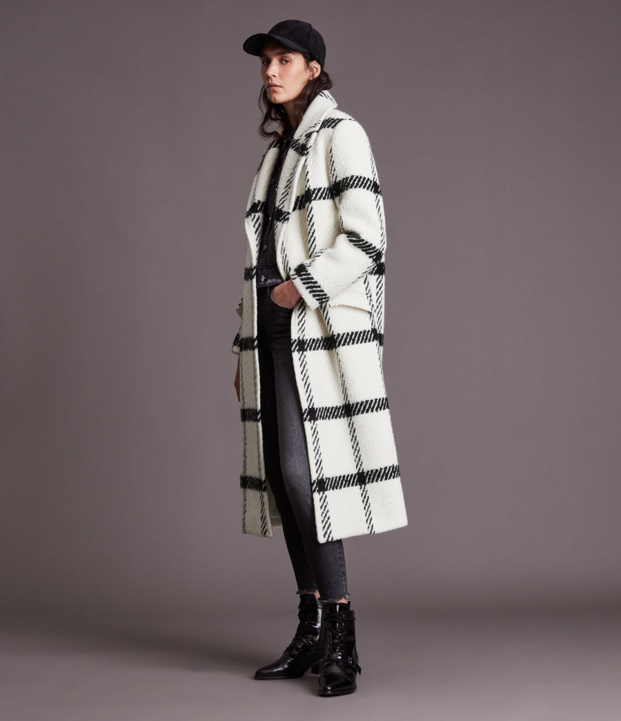 Damen Mabel Check Coat (black_white) - Image 3
