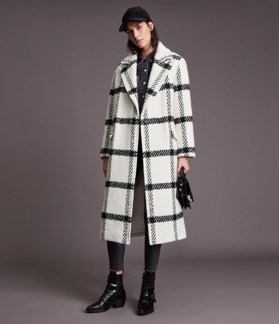 Damen Mabel Check Coat (black_white) - Image 4