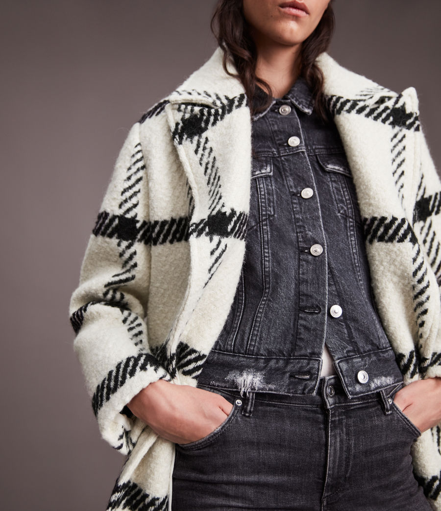 Damen Mabel Check Coat (black_white) - Image 7
