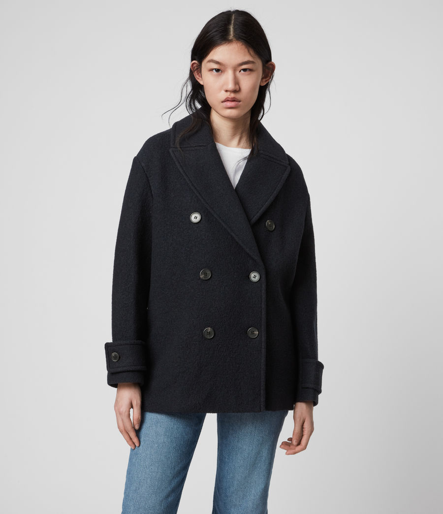 Womens Reagon Wool Peacoat (ink_blue) - Image 1