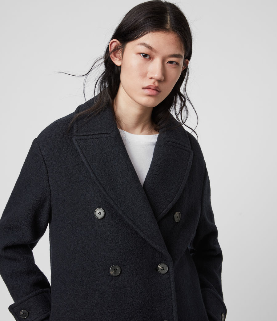Womens Reagon Wool Peacoat (ink_blue) - Image 2