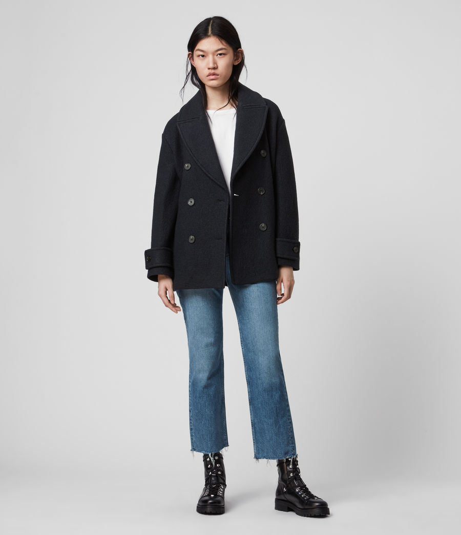 Womens Reagon Wool Peacoat (ink_blue) - Image 3