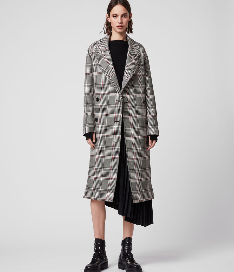 Womens Tyla Check Trench Coat (black_white) - Image 1