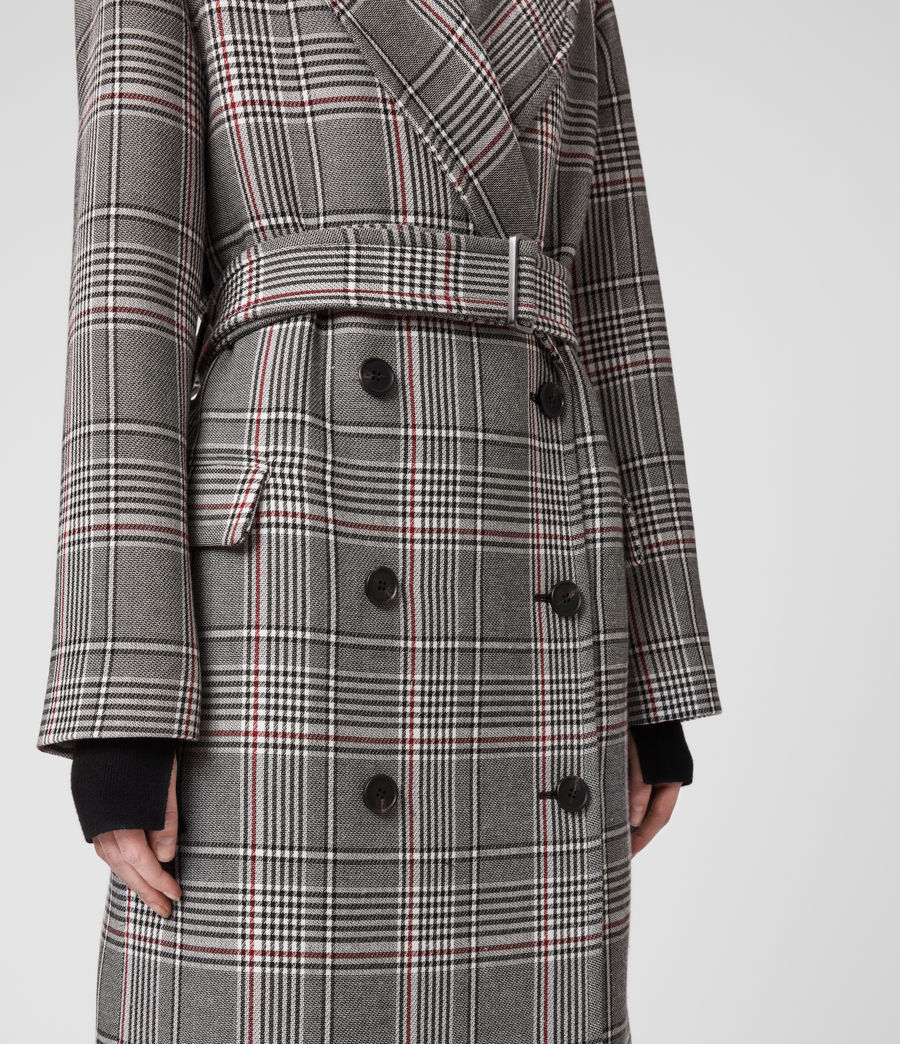 Womens Tyla Check Trench Coat (black_white) - Image 3