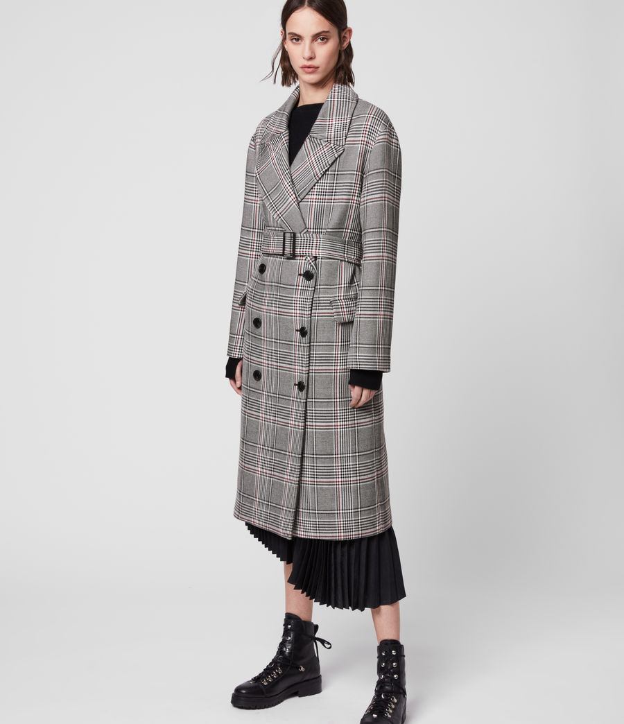 Womens Tyla Check Trench Coat (black_white) - Image 4