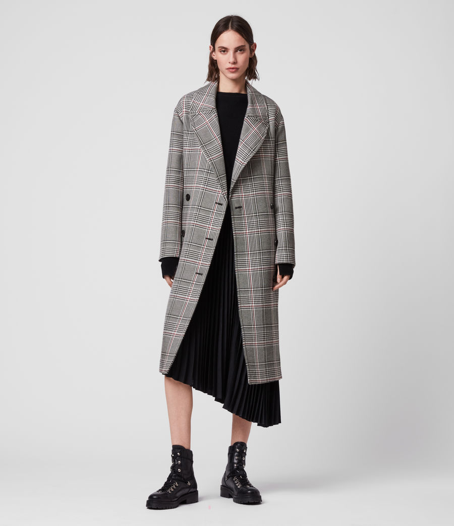 Womens Tyla Check Trench Coat (black_white) - Image 5