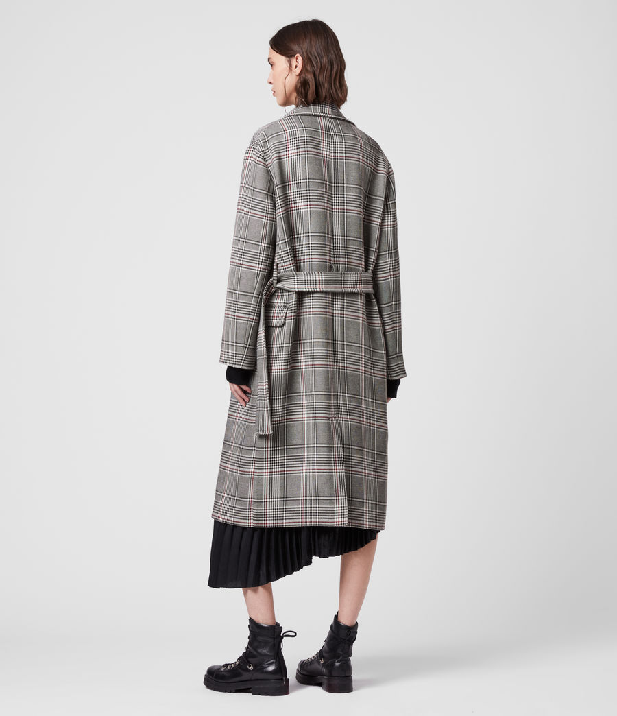 Womens Tyla Check Trench Coat (black_white) - Image 7