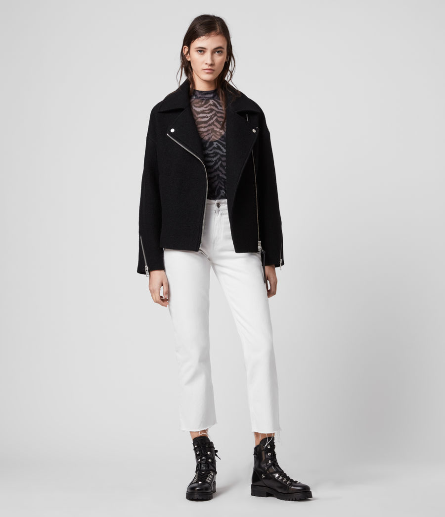 Women's Paxton Wool Biker Jacket (black) - Image 1