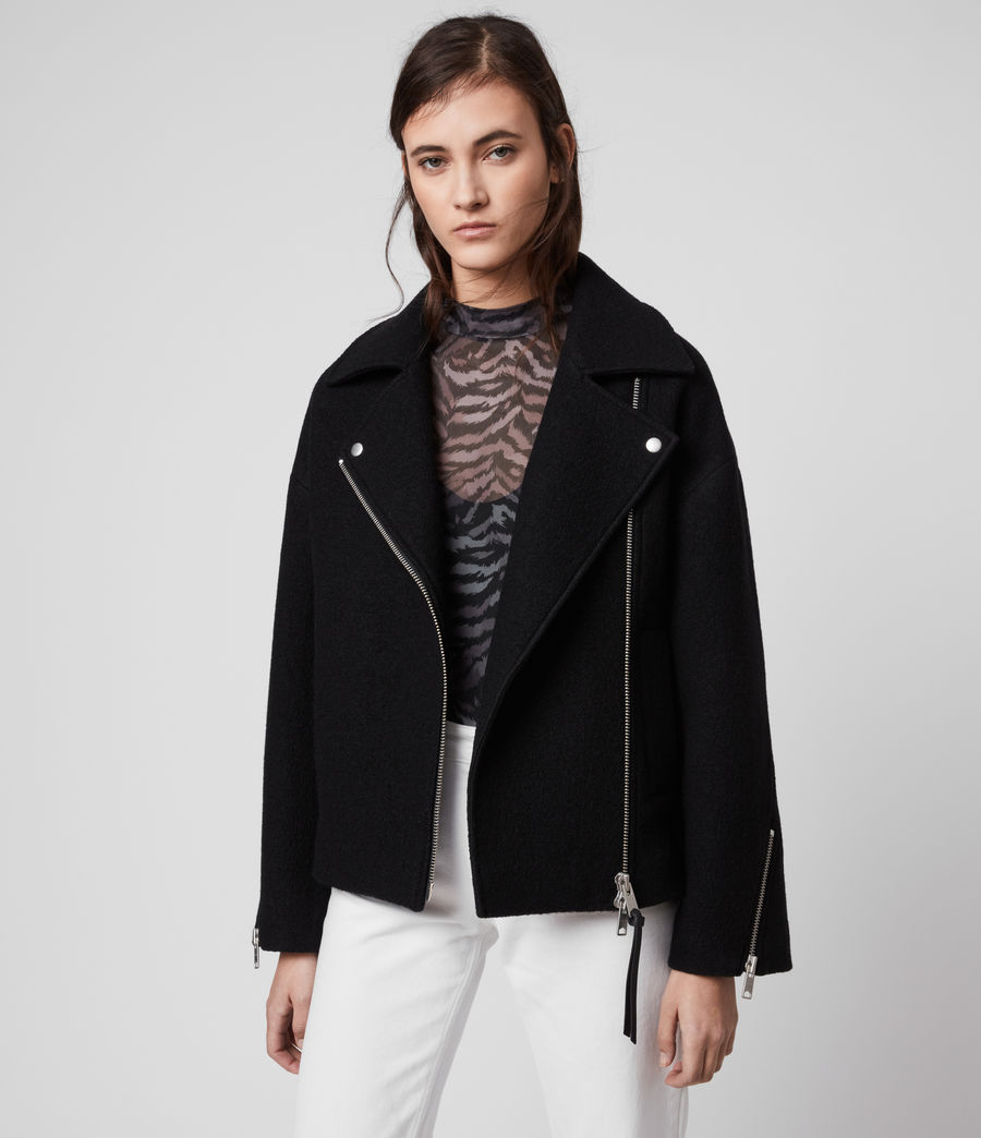 Women's Paxton Wool Biker Jacket (black) - Image 3