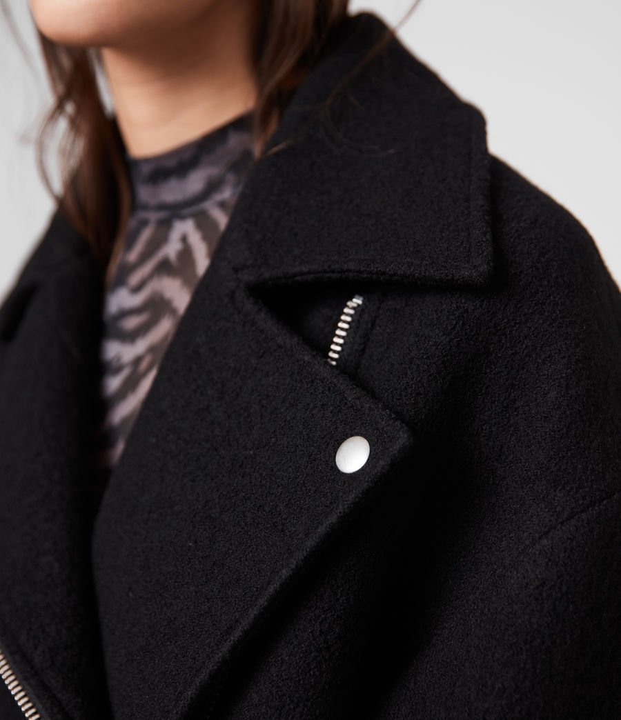 Women's Paxton Wool Biker Jacket (black) - Image 4