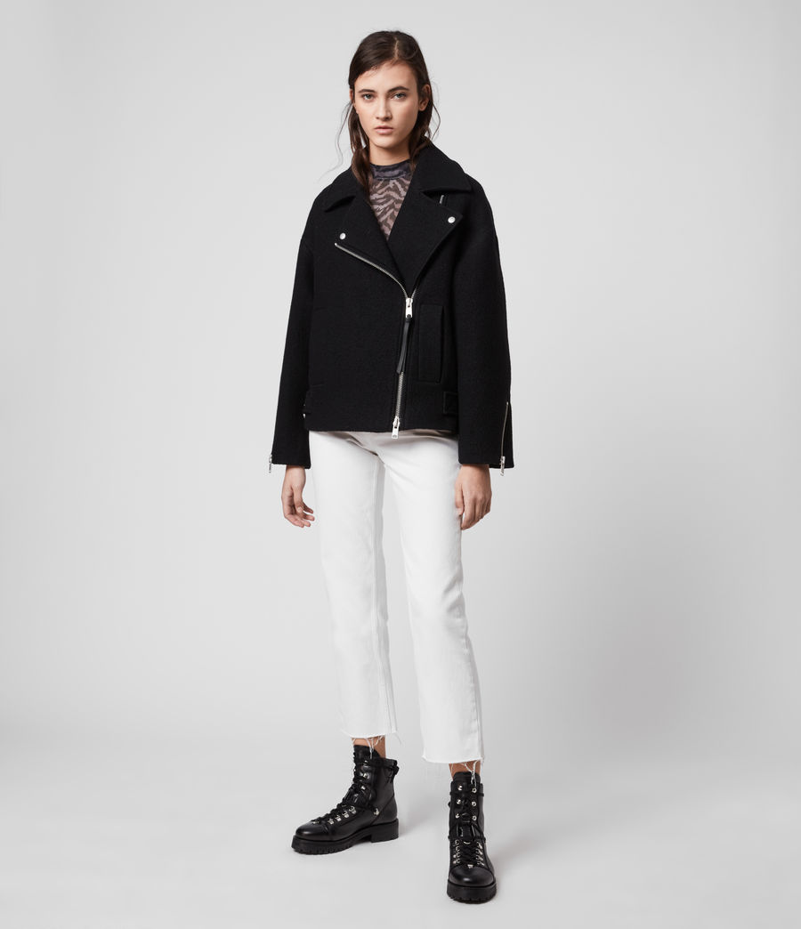 Women's Paxton Wool Biker Jacket (black) - Image 7
