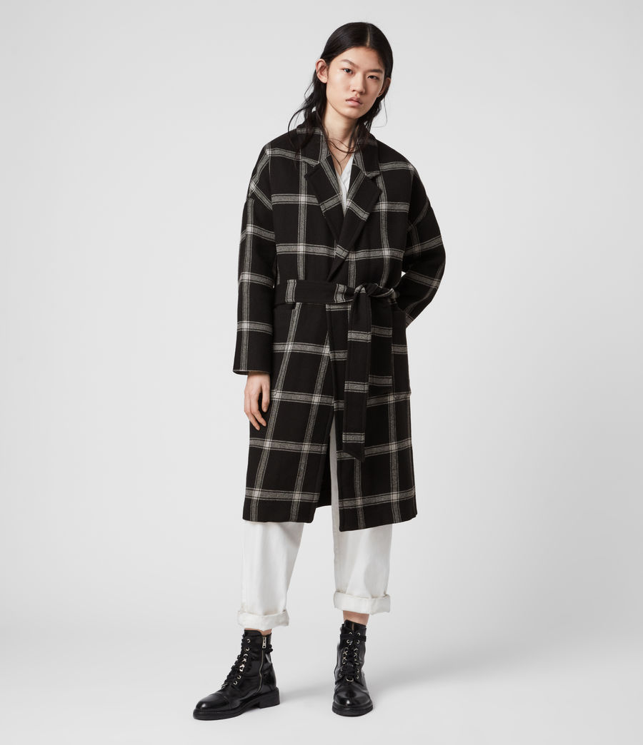 Women's Lara Check Coat (black_light_grey) - Image 1
