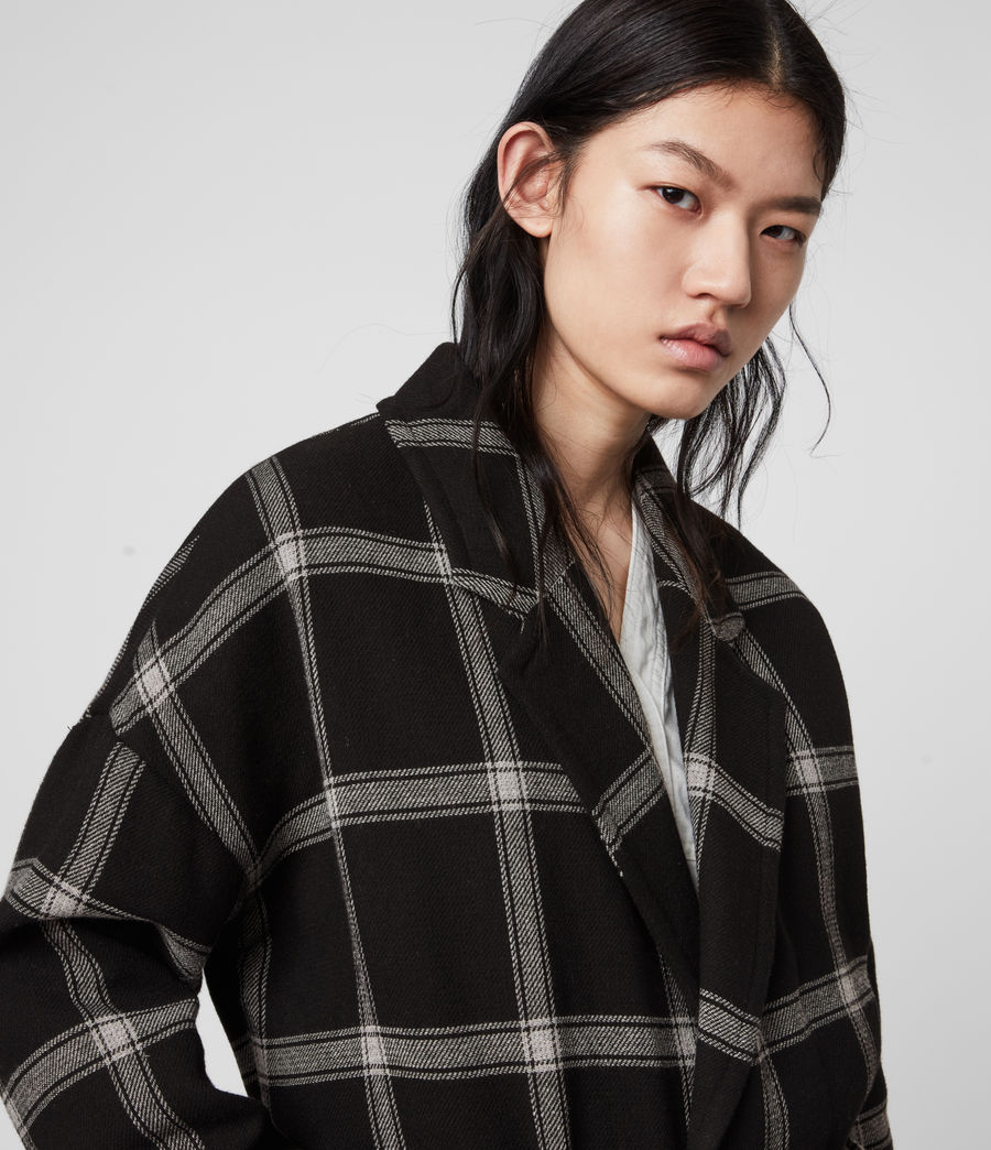 Women's Lara Check Coat (black_light_grey) - Image 2