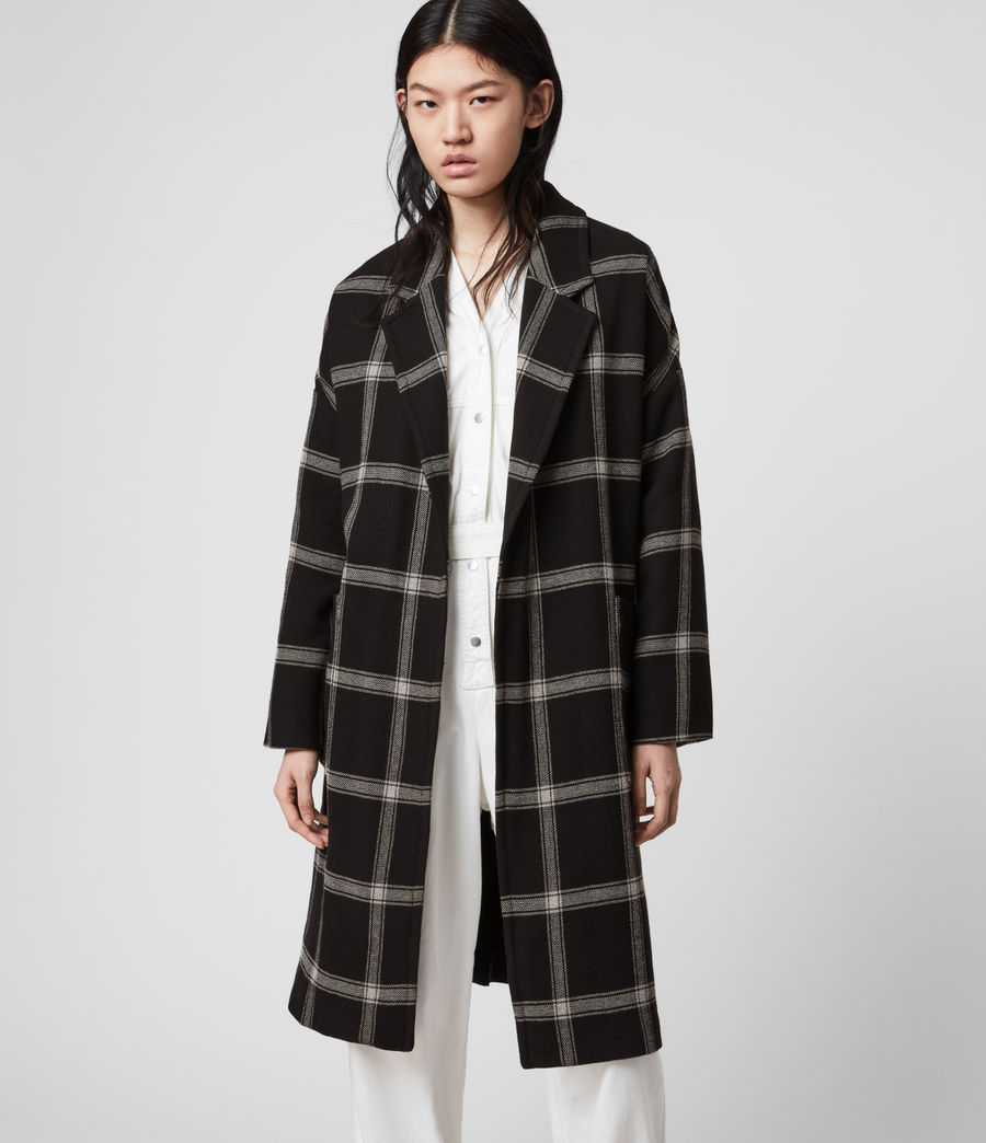 Women's Lara Check Coat (black_light_grey) - Image 3