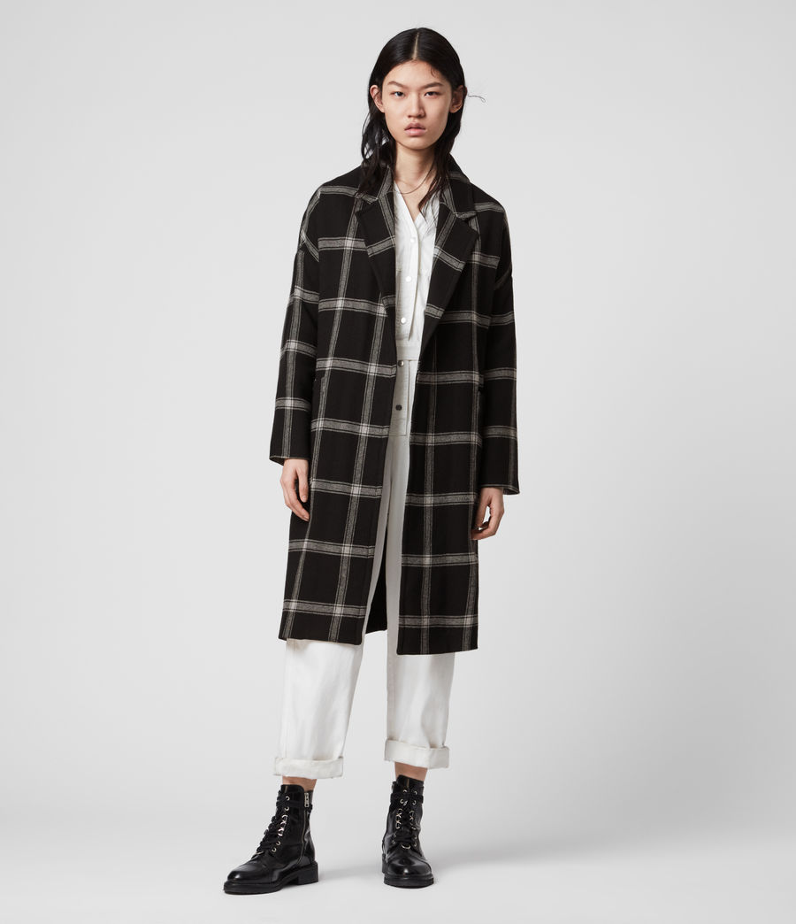 Women's Lara Check Coat (black_light_grey) - Image 4
