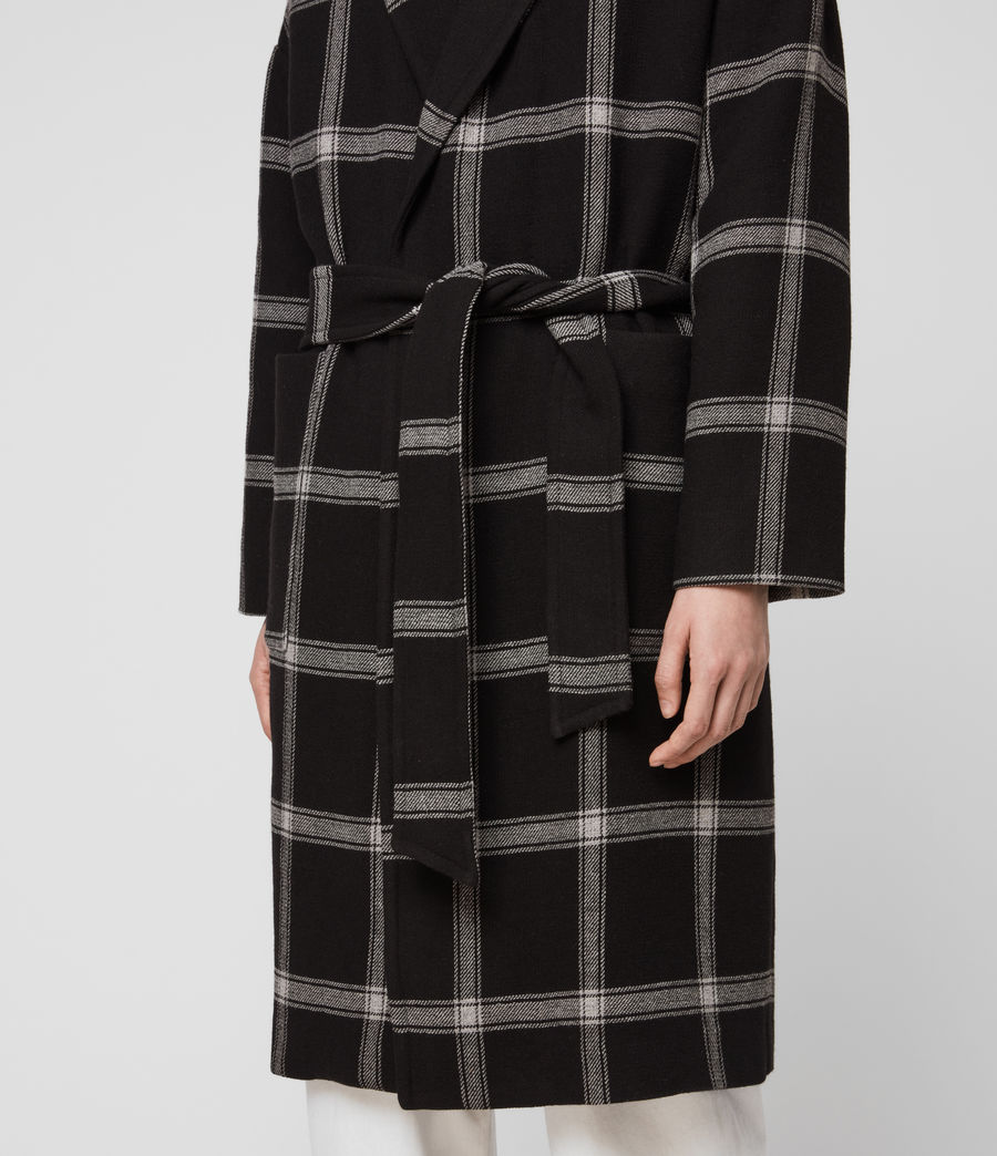 Women's Lara Check Coat (black_light_grey) - Image 5