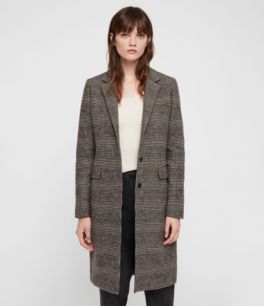Donne Cappotto Indra Check (charcoal_grey) - Image 1