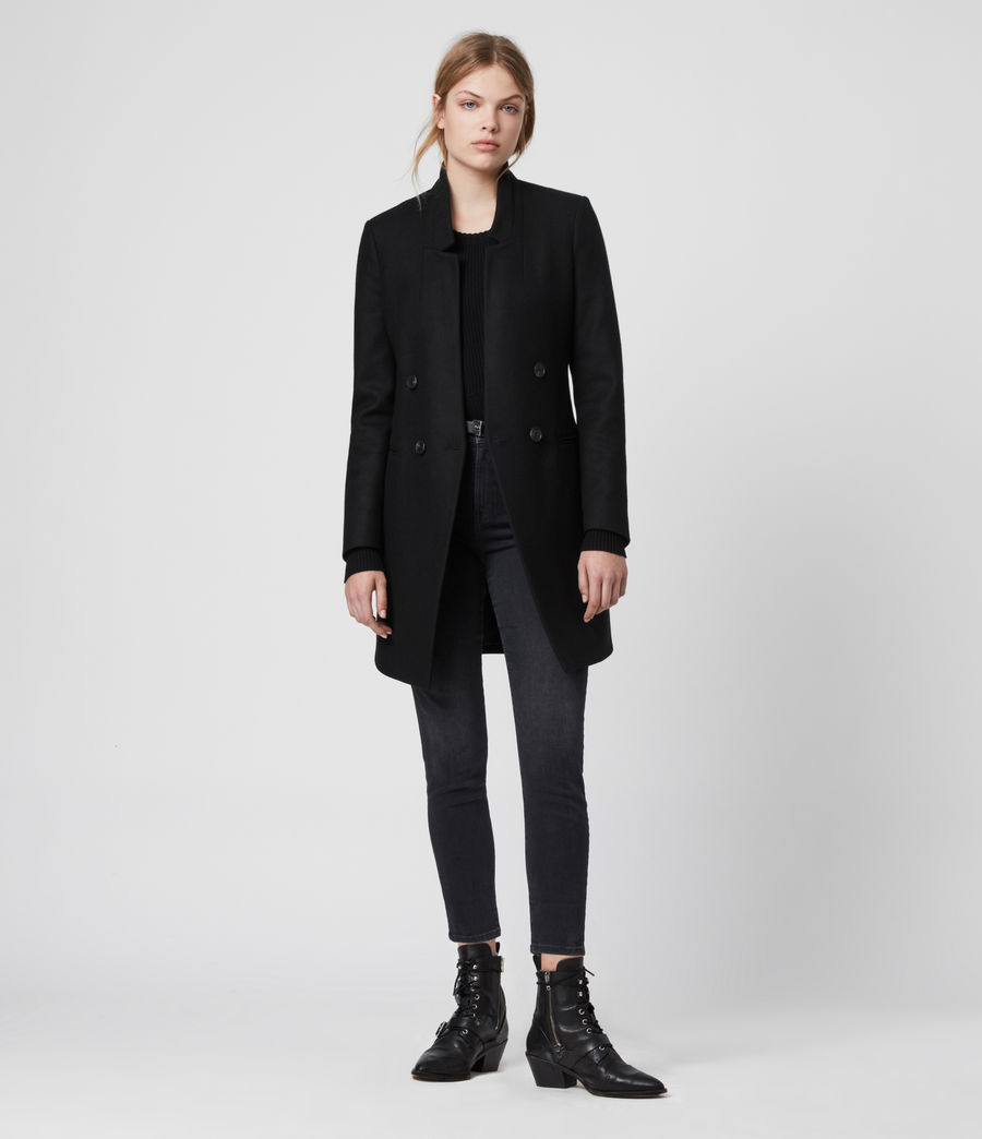 Womens Adrea Cashmere Blend Coat (black) - Image 1