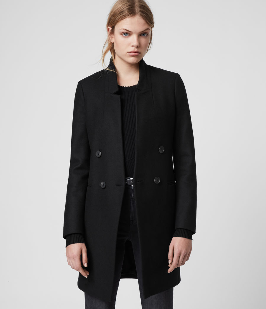 Womens Adrea Cashmere Blend Coat (black) - Image 4