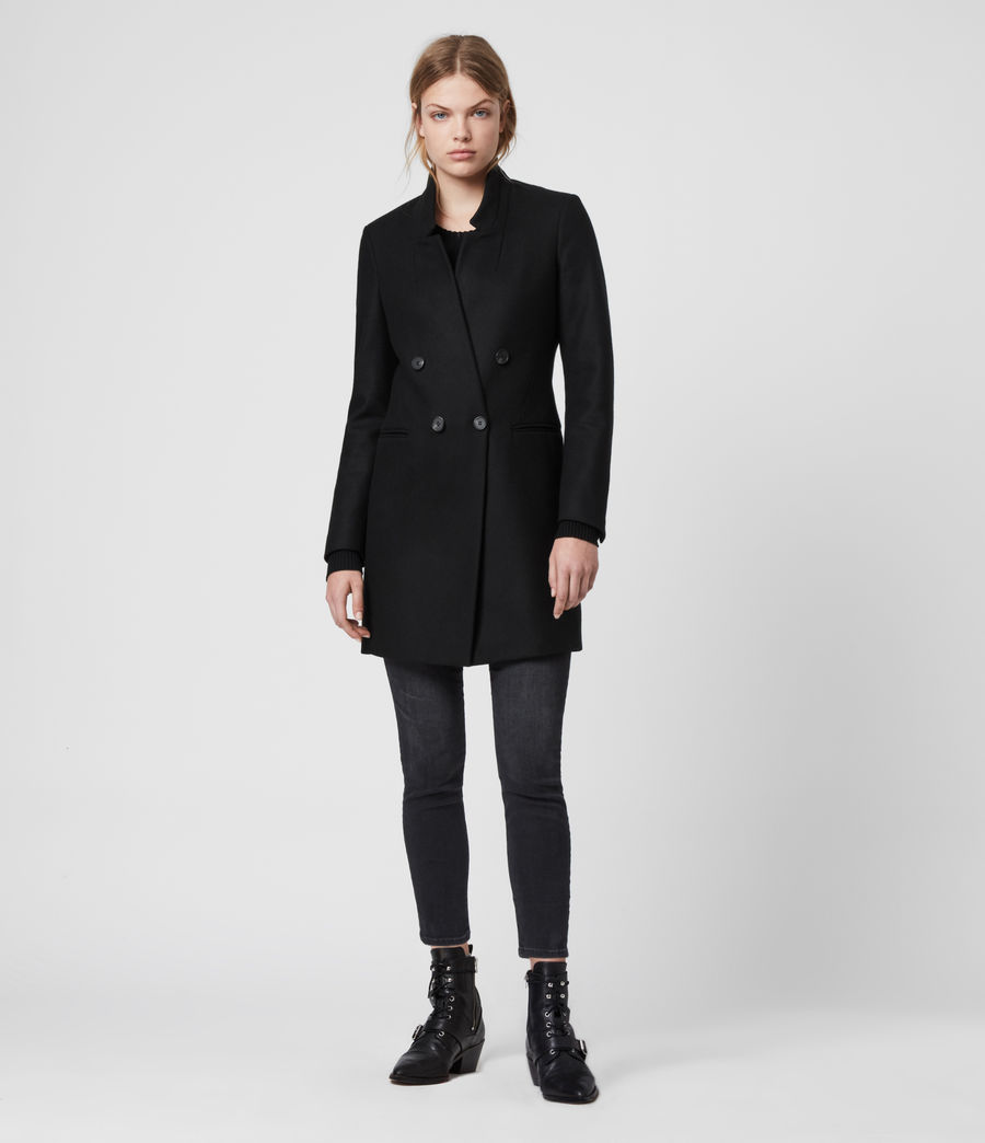Womens Adrea Cashmere Blend Coat (black) - Image 5