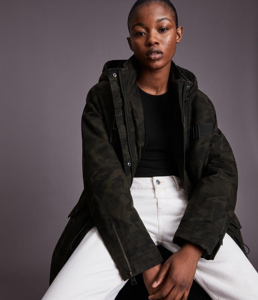Women's Indra Camo Parka Coat (black) - Image 2