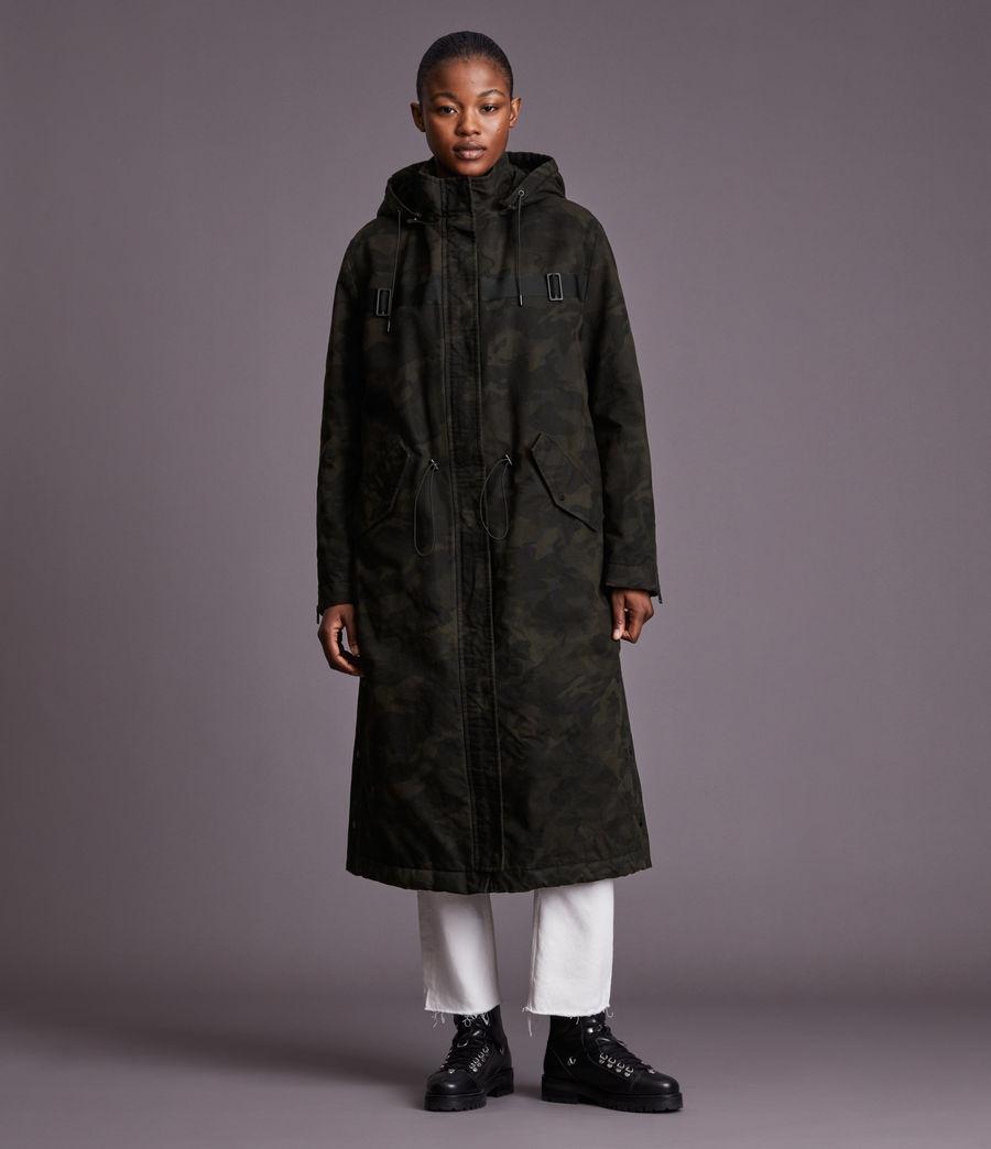 Women's Indra Camo Parka Coat (black) - Image 3