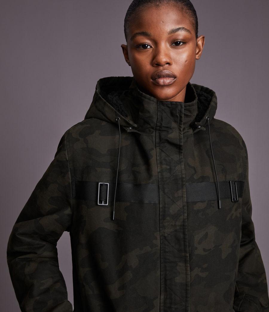Women's Indra Camo Parka Coat (black) - Image 4