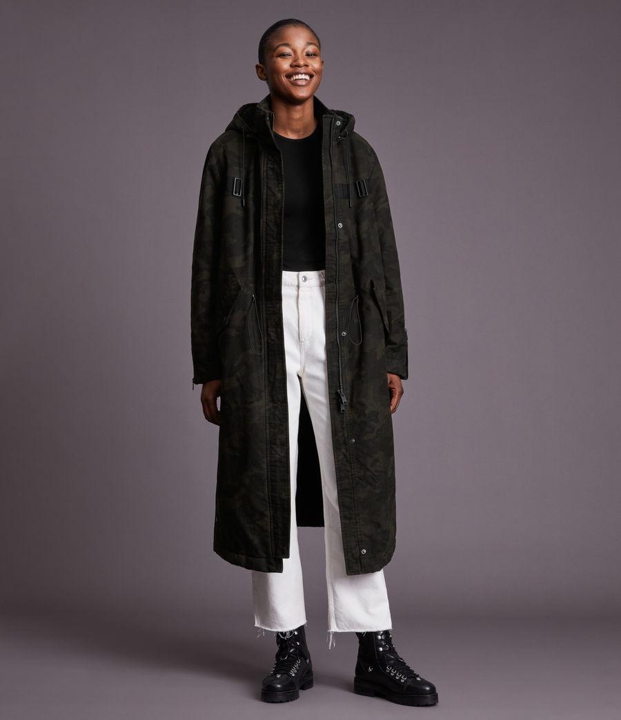 Women's Indra Camo Parka Coat (black) - Image 5