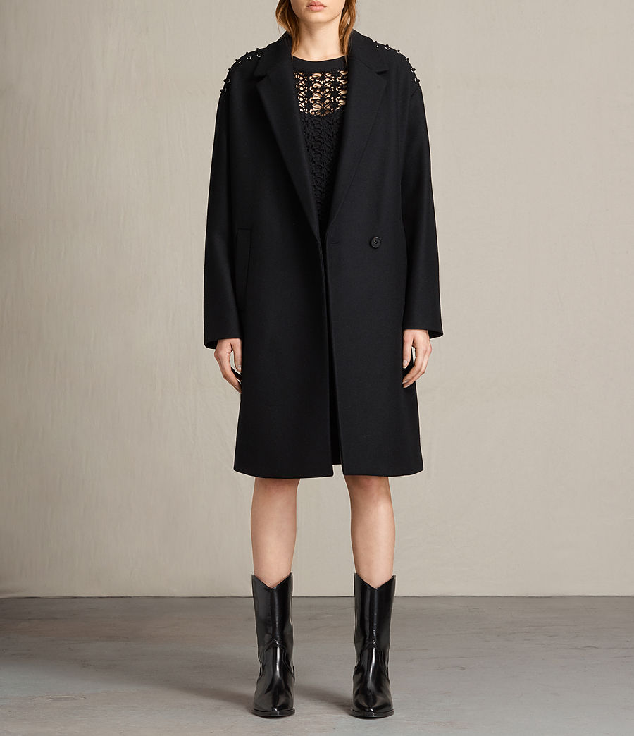Mujer Abrigo con lazos Ada (black) - Image 1