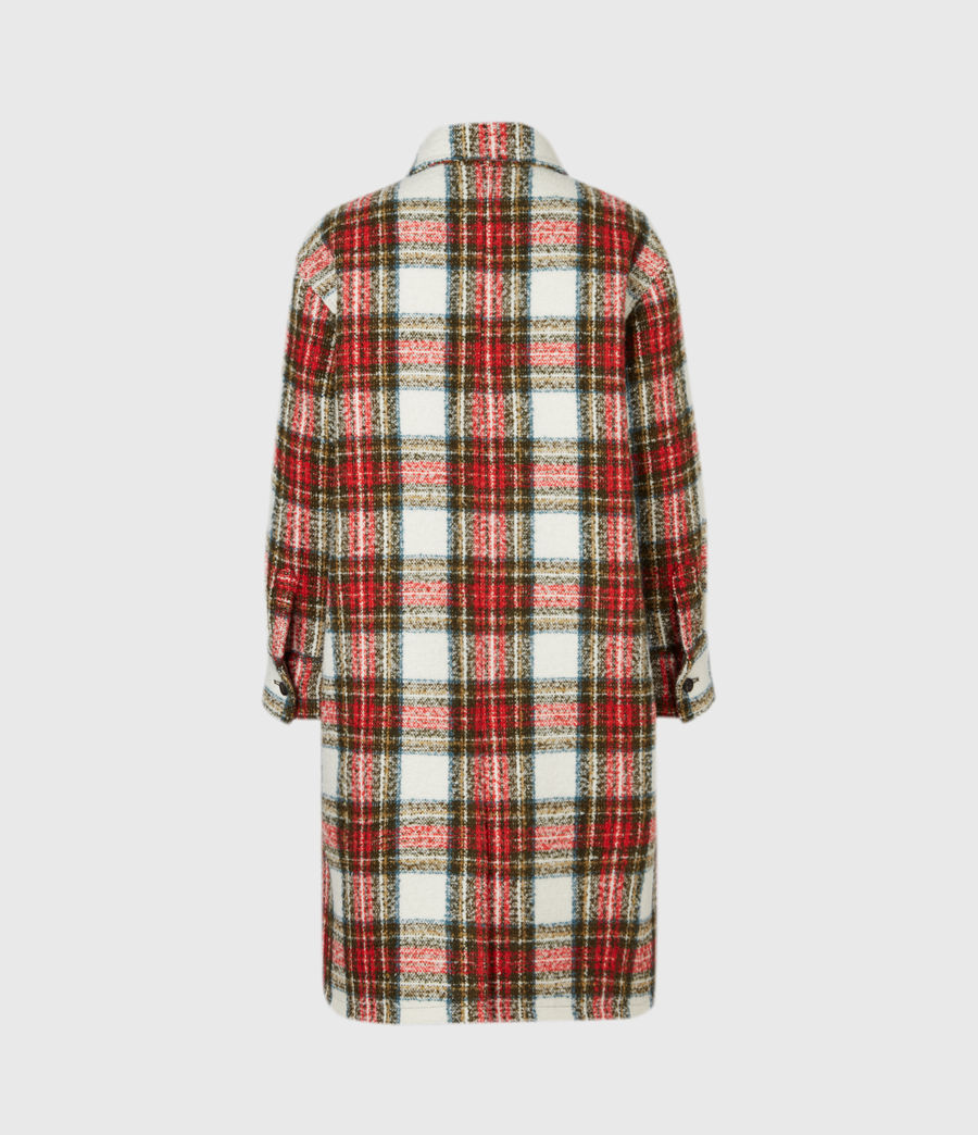 Womens Nia Wool Blend Check Coat (ivory_white_orange) - Image 3