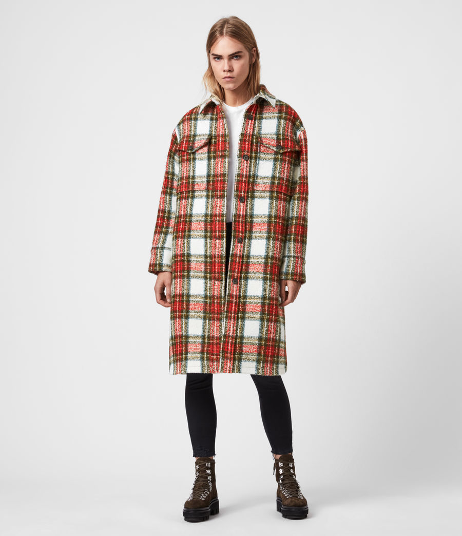 Womens Nia Wool Blend Check Coat (ivory_white_orange) - Image 6