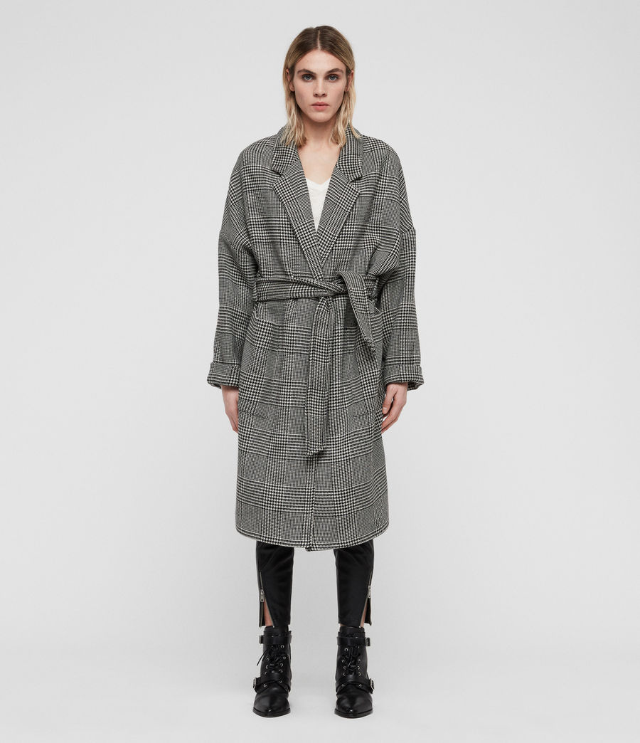Womens Lara Check Coat (black_white) - Image 1