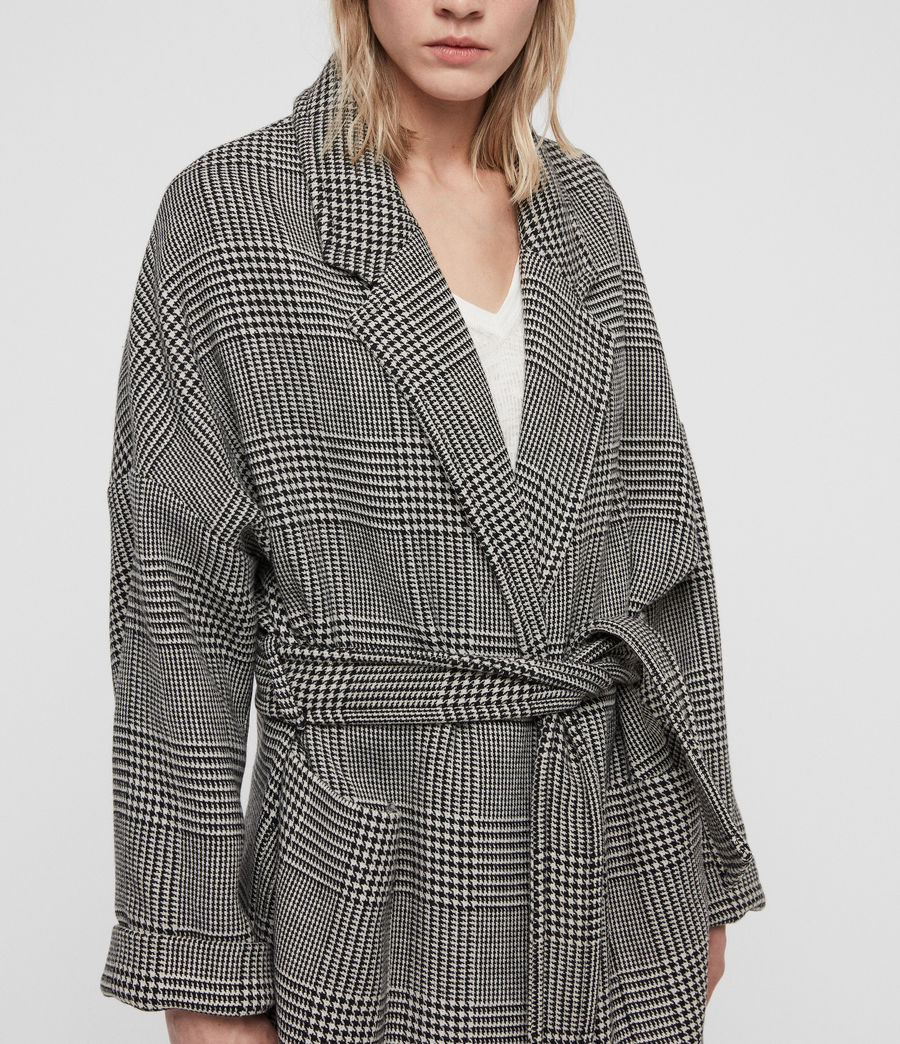 Womens Lara Check Coat (black_white) - Image 4