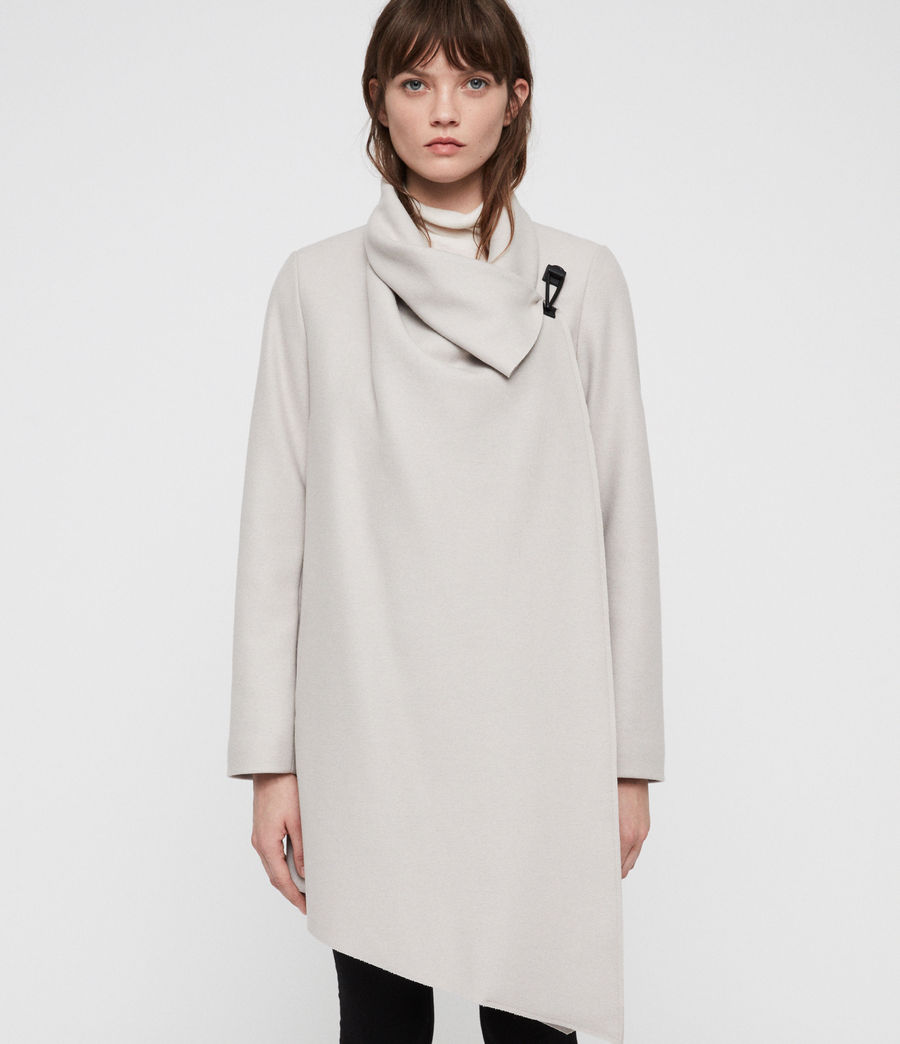 Womens City Monument Coat (stone_white) - Image 3