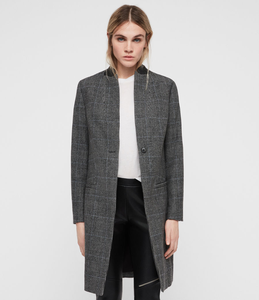 Women's Leni Check Coat (grey) - Image 1