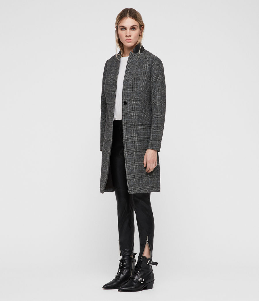Donne Cappotto Leni Check (grey) - Image 3