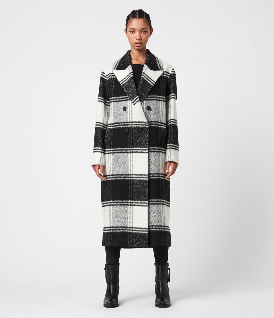 Womens Lottie Check Coat (black_white) - Image 2