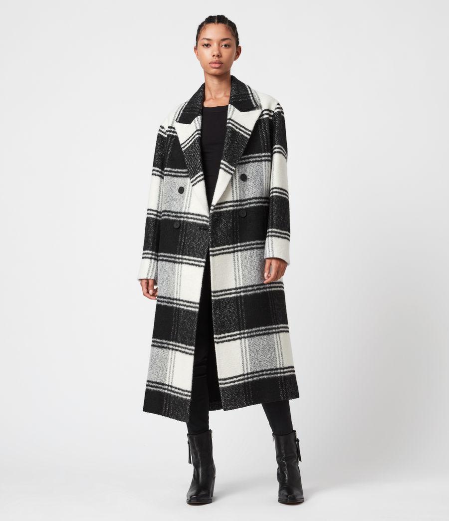 Women's Lottie Check Coat (black_white) - Image 7