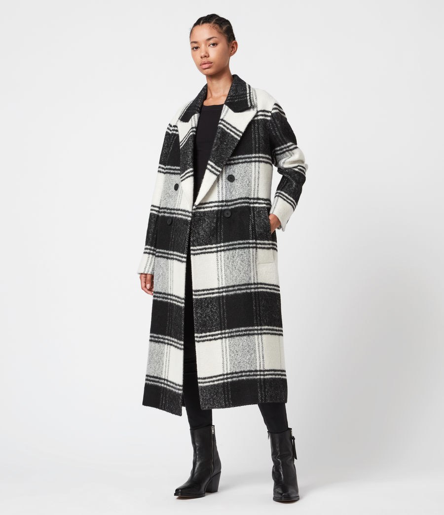 Womens Lottie Check Coat (black_white) - Image 4