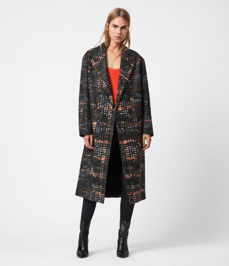 Womens Lottie Wool Blend Camo Coat (black_orange) - Image 1