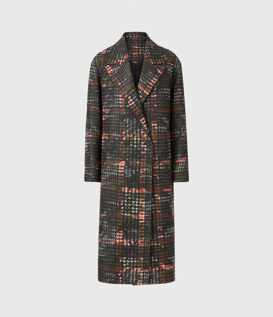 Womens Lottie Wool Blend Camo Coat (black_orange) - Image 2