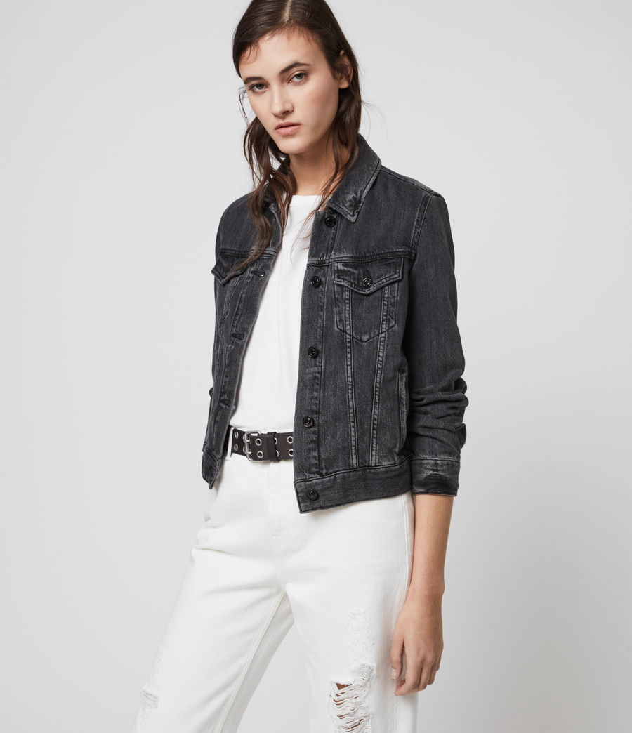 Women's Hay Denim Jacket (washed_black) - Image 4