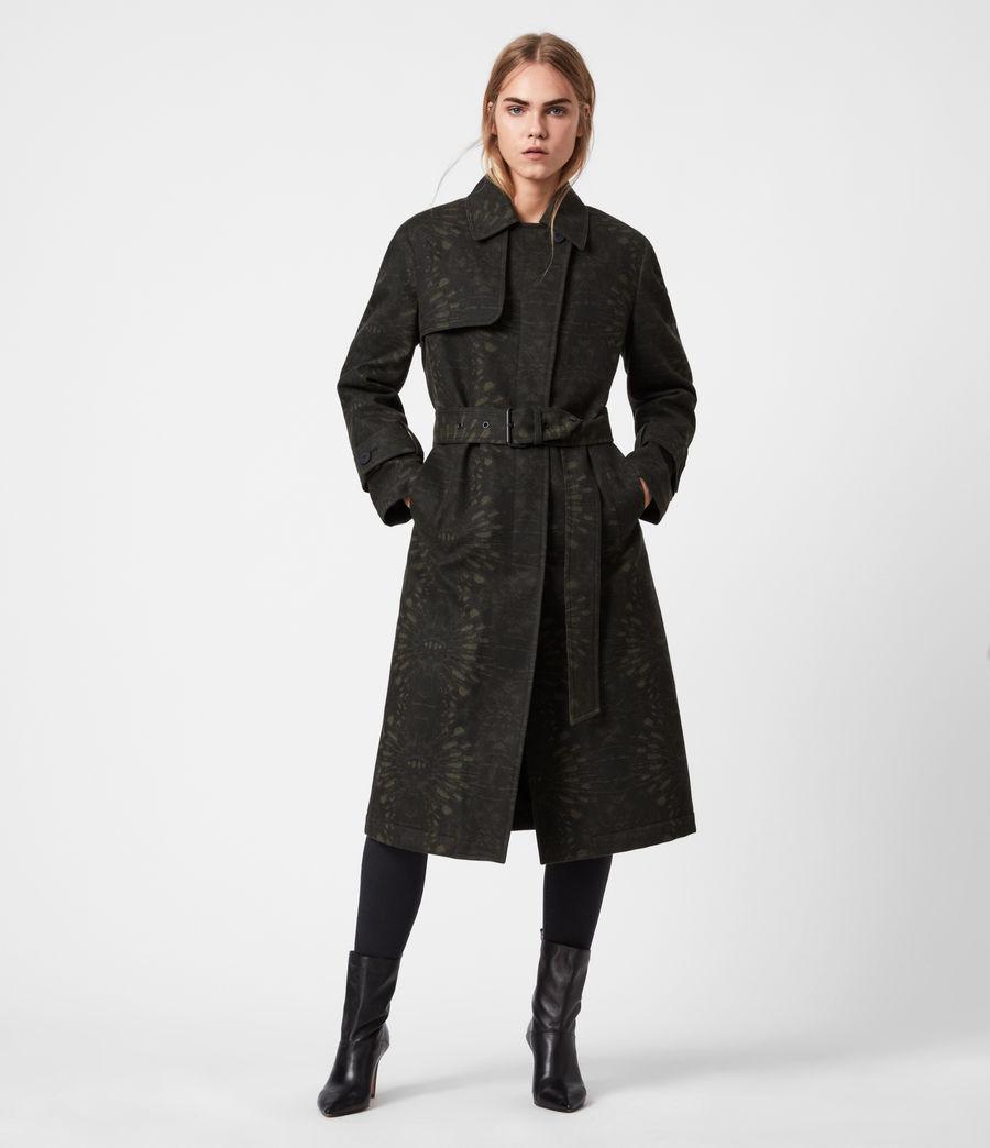 Womens Travis Wool Blend Trench Coat (khaki_green) - Image 1