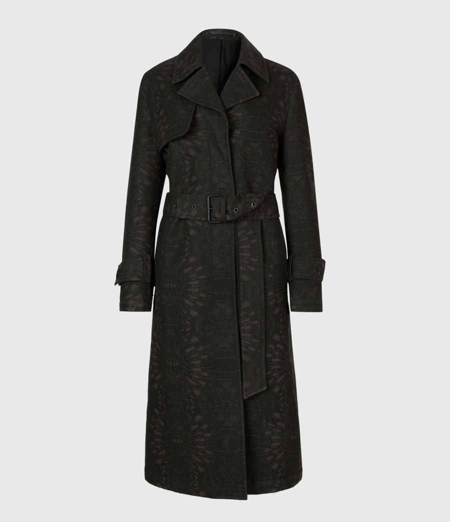 Womens Travis Wool Blend Trench Coat (khaki_green) - Image 2
